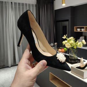 Classy Black Office OL Pumps 2020 Pearl 9 cm Stiletto Heels Pointed Toe Pumps