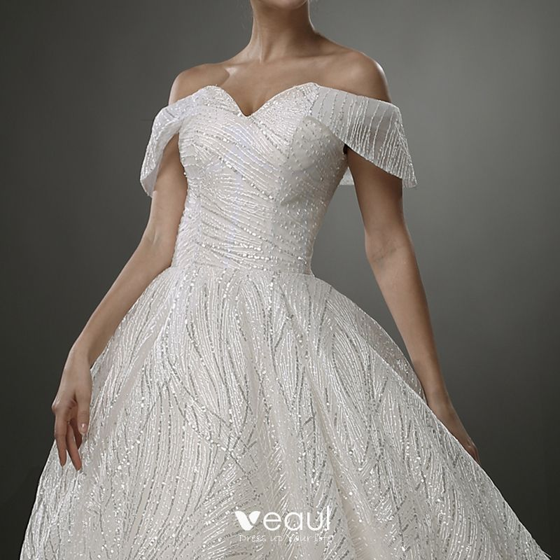 Luxury / Gorgeous Ivory Bling Bling Wedding Dresses 2019 A-Line / Princess Off-The-Shoulder Short Sleeve Backless Glitter Tulle Court Train