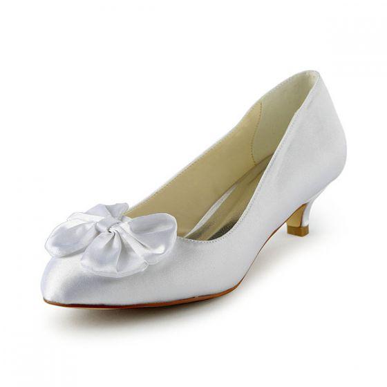 Princess Pointed Toe Bow White Satin Kitten Heels Wedding Shoes