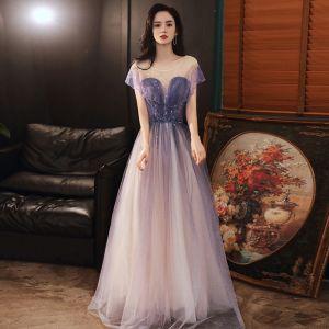 Élégant Violet Robe De Bal Robe De Ceremonie Longue Tulle Dansant Manches Courtes Princesse 2020 Encolure Dégagée Dos Nu Perlage Glitter Volants Paillettes