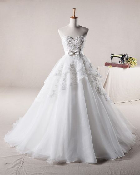 Applikationer Beading Alskling Rosett Dekoration Organza En Linje Brudklänningar Bröllopsklänningar
