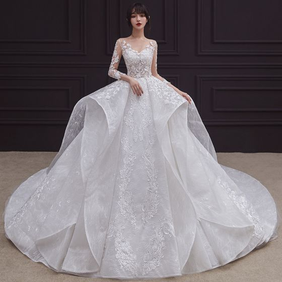 Illusion White See-through Bridal Wedding Dresses 2020 Ball Gown Scoop Neck 3/4 Sleeve Backless Beading Appliques Lace Cathedral Train Ruffle