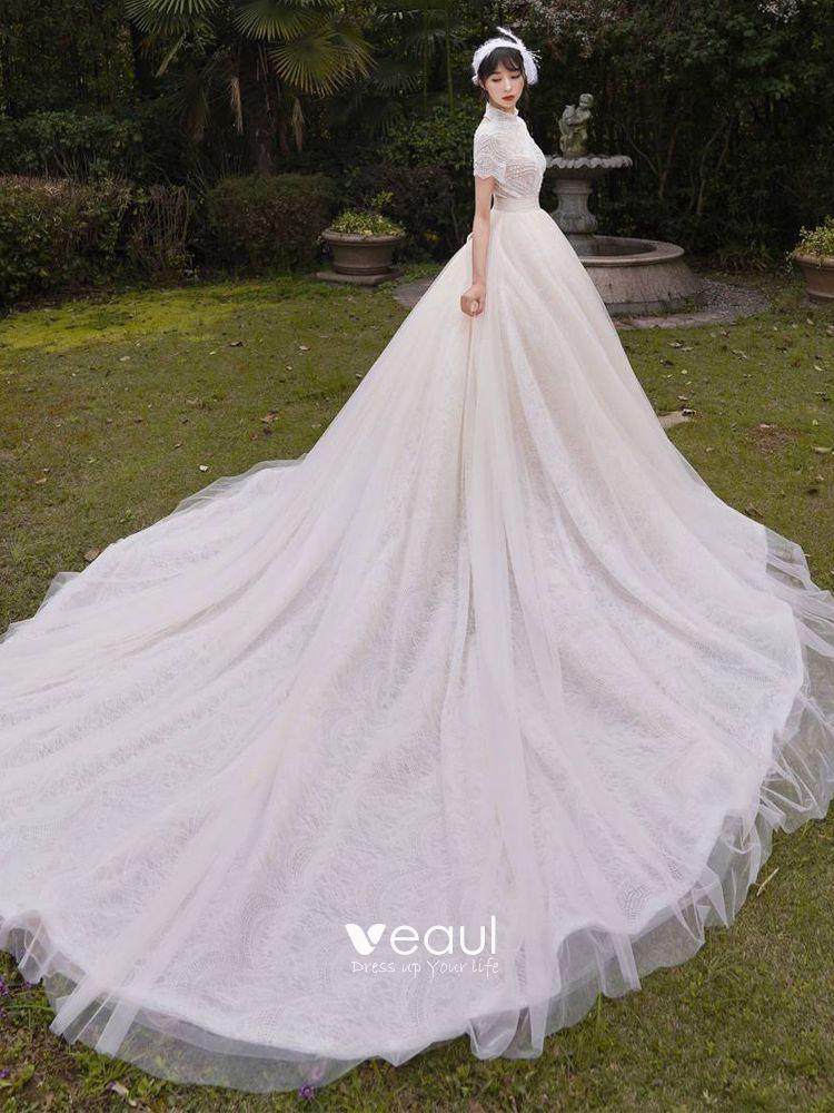 Vintage / Retro Champagne Outdoor / Garden Wedding Dresses 2019 A-Line / Princess High Neck Short Sleeve Backless Beading Pearl Chapel Train Ruffle