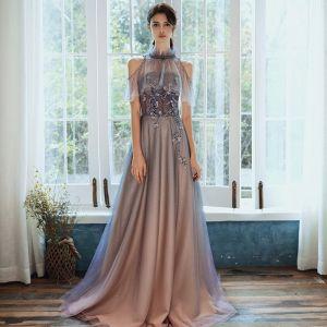 Wysokiej Klasy Granatowe Sukienki Na Bal Z Szalem 2020 Princessa Bez Ramiączek Bez Rękawów Frezowanie Cekinami Tiulowe Trenem Sweep Wzburzyć Bez Pleców Sukienki Wizytowe