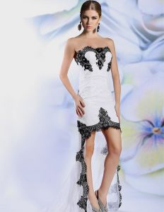 2015 White Lace Asymmetrical Beading Appliques Cocktail Dress