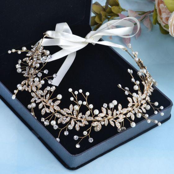 Elegant Gold Headbands Bridal Hair Accessories 2020 Alloy Pearl Rhinestone Lace-up Headpieces Wedding Accessories