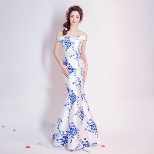 Chinese style Royal Blue Floor-Length / Long Evening Dresses  2018 Trumpet / Mermaid Charmeuse Backless Beading Printing Strapless Evening Party Formal Dresses