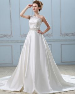 Bowknot Back One Shoulder Satin Lace A Line Wedding Dress