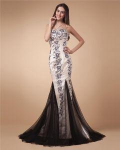 Halter-schatz-ausschnitt Sleeveless Zipper Bodenlangen Satin Frau Abendkleider
