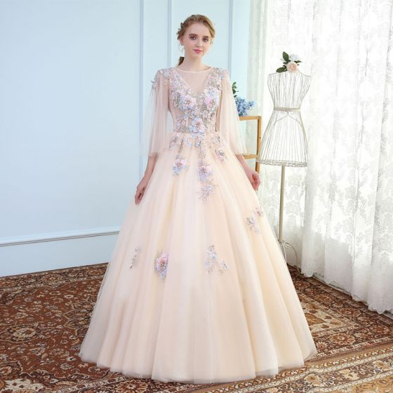 Chic / Beautiful Champagne Prom Dresses 2017 A-Line / Princess Lace U-Neck Handmade  Appliques Backless Beading Prom Formal Dresses