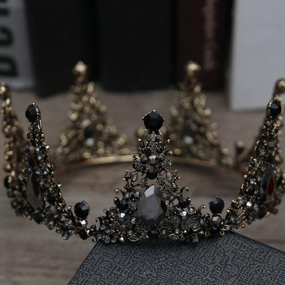 Vintage Barocke Schwarz Brautschmuck 2019 Metall Diadem Quaste Ohrringe Strass Hochzeit Brautaccessoires