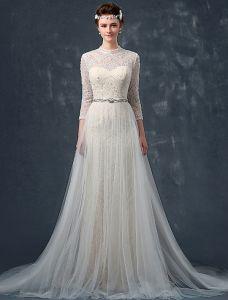2015 A-linie Schultern Hochwertiger Spitze Mit Perlen Perle Rhinestone Schärpe Seidensatin Hochzeitskleid Brautkleid