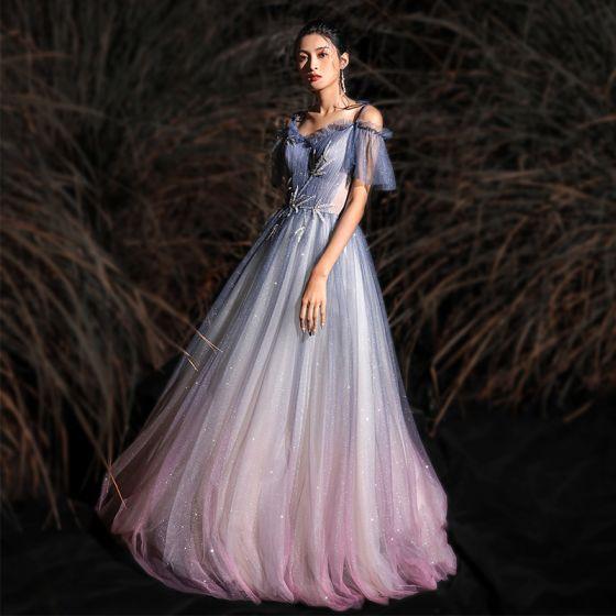 Encantador Degradado De Color Glitter Vestidos de noche 2020 A-Line / Princess Spaghetti Straps Rebordear Manga Corta Sin Espalda Largos Vestidos Formales