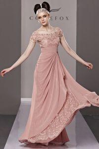 Bretelles Perles Fleur Ourlet Manches Tirette De Longueur De Plancher De Tencel Robes De Soirée De La Femme