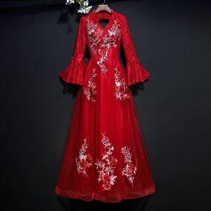 Chic / Belle Bordeaux Robe De Soirée 2017 Princesse En Dentelle Appliques V-Cou Dos Nu Manches Longues Longueur Cheville Robe De Ceremonie