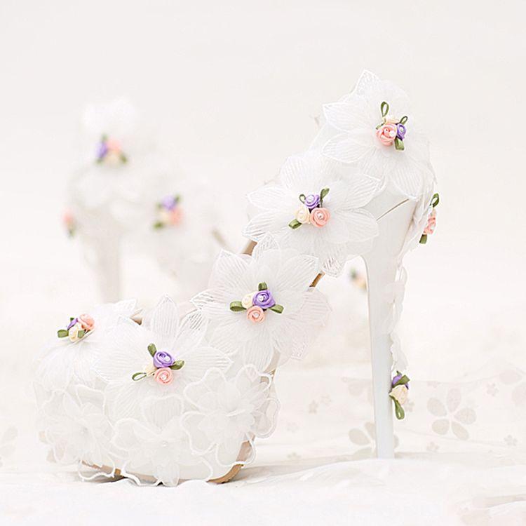 Elegant 2017 10 cm / 4 inch White Casual PU Appliques High Heels Stiletto Heels 10 cm Pumps Wedding Shoes