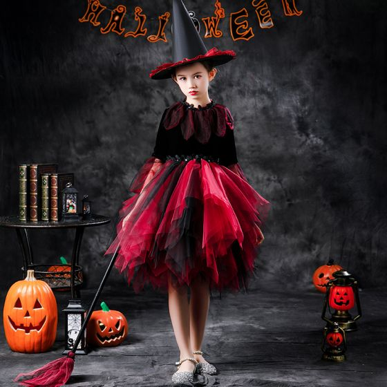 Halloween Cosplay Red Flower Girl Dresses 2020 Ball Gown Scoop Neck Long Sleeve Appliques Lace Sequins Knee-Length Cascading Ruffles