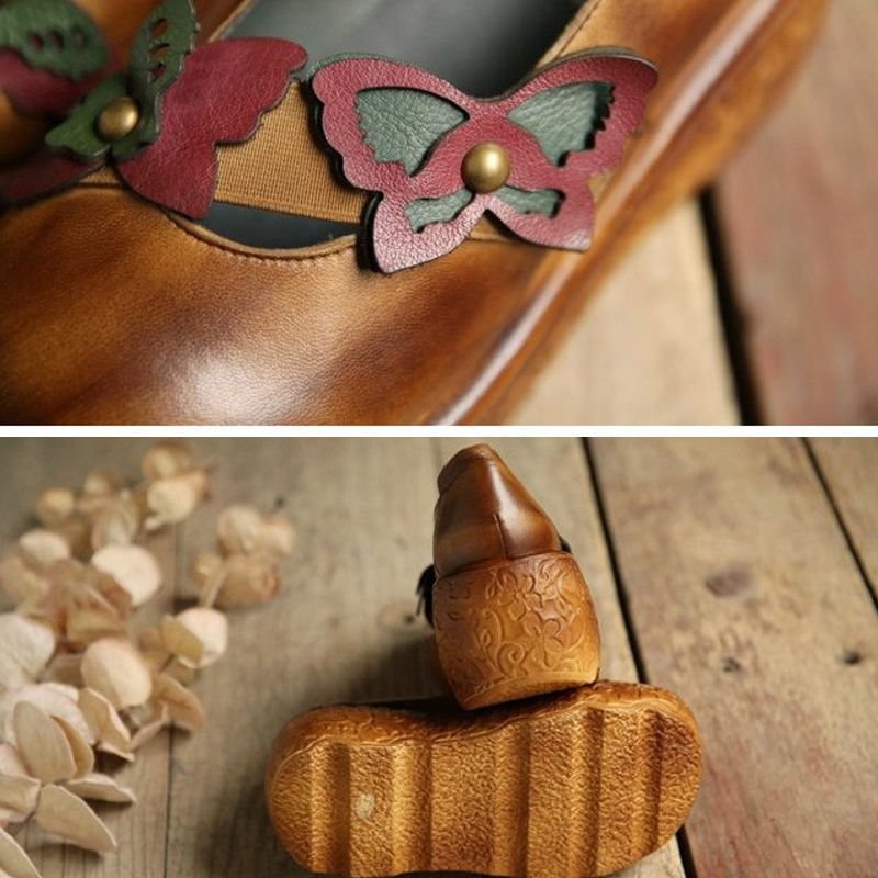 Chic / Beautiful 2017 8 cm / 3 inch Brown Green Casual Outdoor / Garden Leather Fall Spring Summer Winter Butterfly High Heels Platform Sandals Womens Sandals