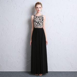 Mode Schwarz Abendkleider 2018 A Linie U-Ausschnitt Perlenstickerei Durchbohrt Pailletten Abend Festliche Kleider