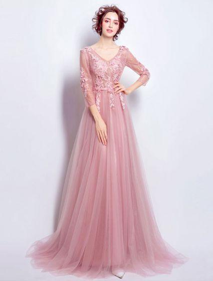 Schöne Rosa Tüll Abendkleid Mit Langen Ärmeln