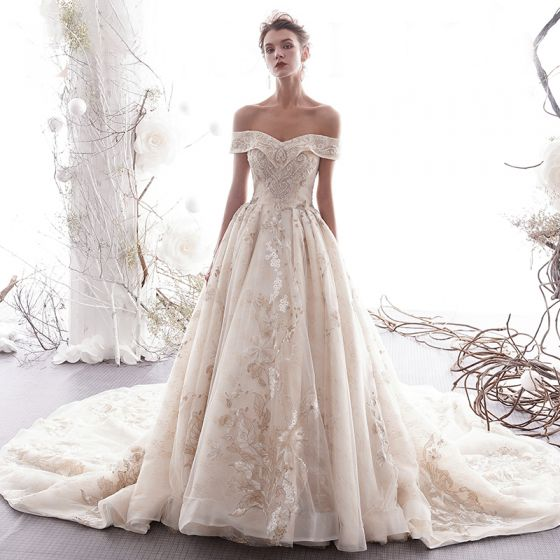 Luxury / Gorgeous Champagne Wedding Dresses 2019 A-Line / Princess Off-The-Shoulder Beading Appliques Lace Flower Short Sleeve Backless Royal Train