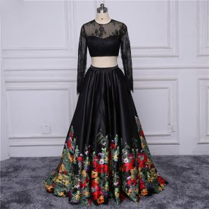Chic / Beautiful Black Prom Dresses 2017 A-Line / Princess U-Neck Embroidered Flower Pierced Printing Evening Dresses  Evening Party