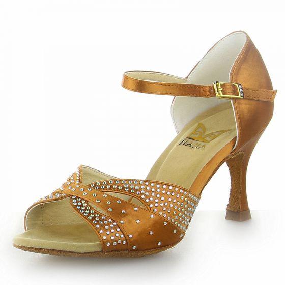 Chic / Beautiful Bronze Rhinestone Prom Latin Dance Shoes 2021 7 cm Stiletto Heels Open / Peep Toe Womens Sandals High Heels