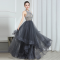 Fashion Grey Evening Dresses  2020 A-Line / Princess Halter Sleeveless Beading Floor-Length / Long Cascading Ruffles Backless Formal Dresses