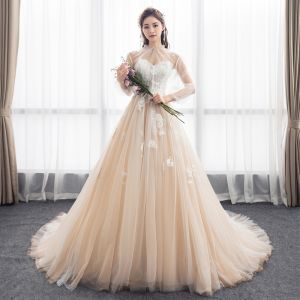 Chic / Beautiful Champagne See-through Wedding Dresses With Shawl 2018 A-Line / Princess Sweetheart Long Sleeve Appliques Lace Ruffle Cathedral Train