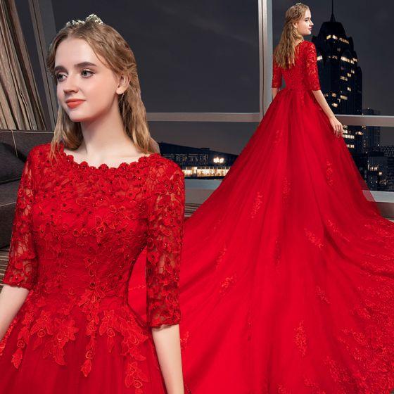Moderne / Mode Rouge Robe De Mariée 2018 Princesse Appliques En Dentelle Cristal Encolure Dégagée 3/4 Manches Royal Train Mariage