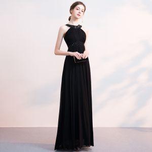 Amazing / Unique Black Evening Dresses  2018 Floor-Length / Long Chiffon Halter Beading Appliques Rhinestone Red Carpet Dating Trumpet / Mermaid Formal Dresses