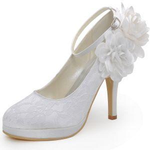 Haute Impermeable Avec Des Fleurs Douces De Lacet De Chaussures De Mariée Pied Sangle Anneau Chaussures