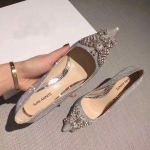 Encantador Plata Glitter Zapatos de novia 2020 Cuero Rhinestone mariposa 8 cm Stilettos / Tacones De Aguja Punta Estrecha Boda Tacones