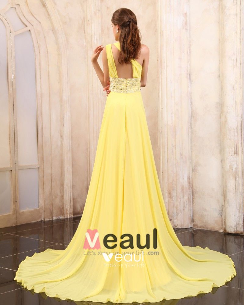 Chiffon Beading Pleated One Shoulder Chapel Train Evening Dresses