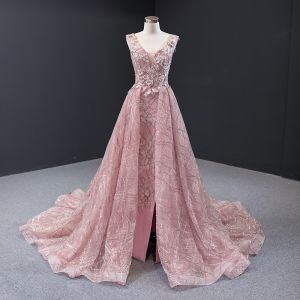 Luxury / Gorgeous Pearl Pink Red Carpet Evening Dresses  2020 A-Line / Princess See-through Deep V-Neck Sleeveless Appliques Flower Beading Split Front Chapel Train Ruffle Backless Formal Dresses