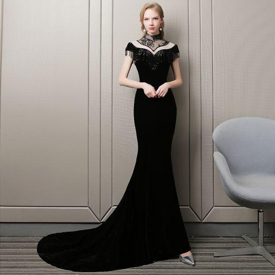 Stunning Black Evening Dresses  2018 Trumpet / Mermaid Beading Tassel Suede High Neck Short Sleeve Court Train Formal Dresses