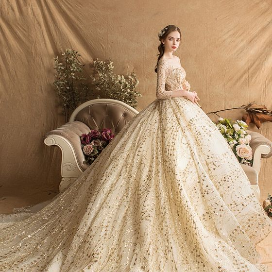 Luxury / Gorgeous Gold Wedding Dresses 2019 Ball Gown Square Neckline Glitter Tulle Beading Sequins Crystal 3/4 Sleeve Backless Royal Train