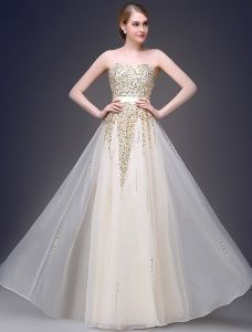 2015 A-line Sweetheart Beading Sequins Sash Tulle Shine Prom Dress