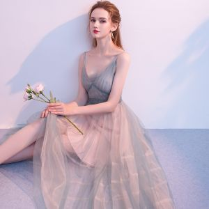 Modest / Simple Dark Green Summer Homecoming Graduation Dresses 2018 A-Line / Princess Spaghetti Straps Sleeveless Tea-length Ruffle Backless Formal Dresses