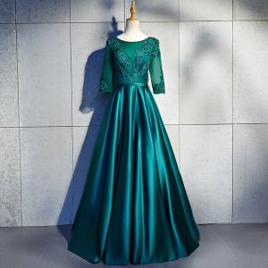 Schöne Dunkelgrün Lange Abendkleider 2018 A Linie U-Ausschnitt Charmeuse Schnüren Applikationen Rückenfreies Perlenstickerei Abend Festliche Kleider