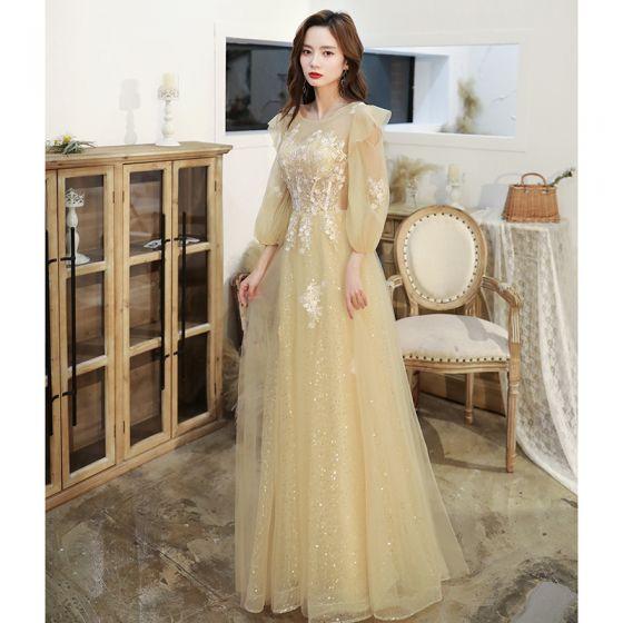 Chic / Belle Jaune Robe De Bal 2020 Princesse Encolure Dégagée En Dentelle Fleur Appliques Paillettes Manches Longues Dos Nu Longue Robe De Ceremonie