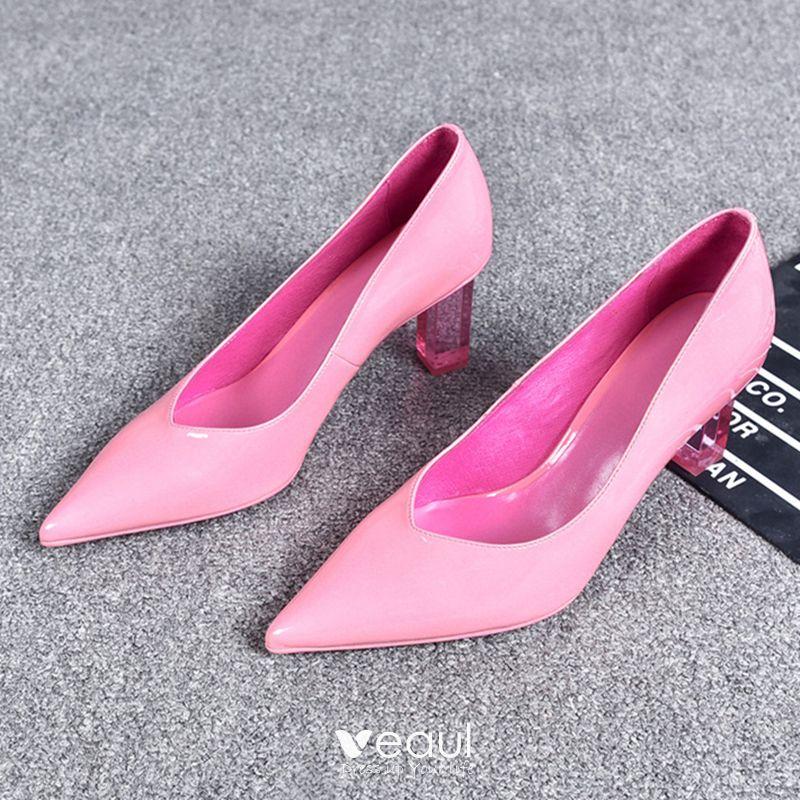 Charmant Rose Bonbon Désinvolte Escarpins 2019 Cuir 7 cm Talons Aiguilles À Bout Pointu Escarpins