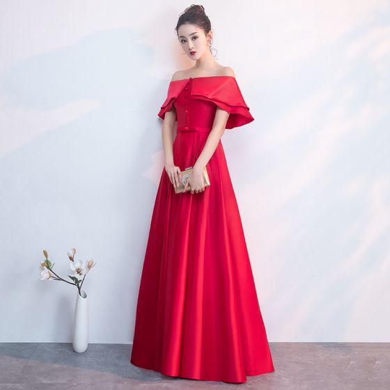 Elegancka Czerwone Sukienki Wieczorowe 2019 Princessa Przy Ramieniu Kokarda Kótkie Rękawy Bez Pleców Długie Sukienki Wizytowe