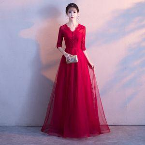 Piękne Burgund Sukienki Wieczorowe 2017 Princessa Koronkowe V-Szyja Bez Pleców 1/2 Rękawy Długie Sukienki Wizytowe