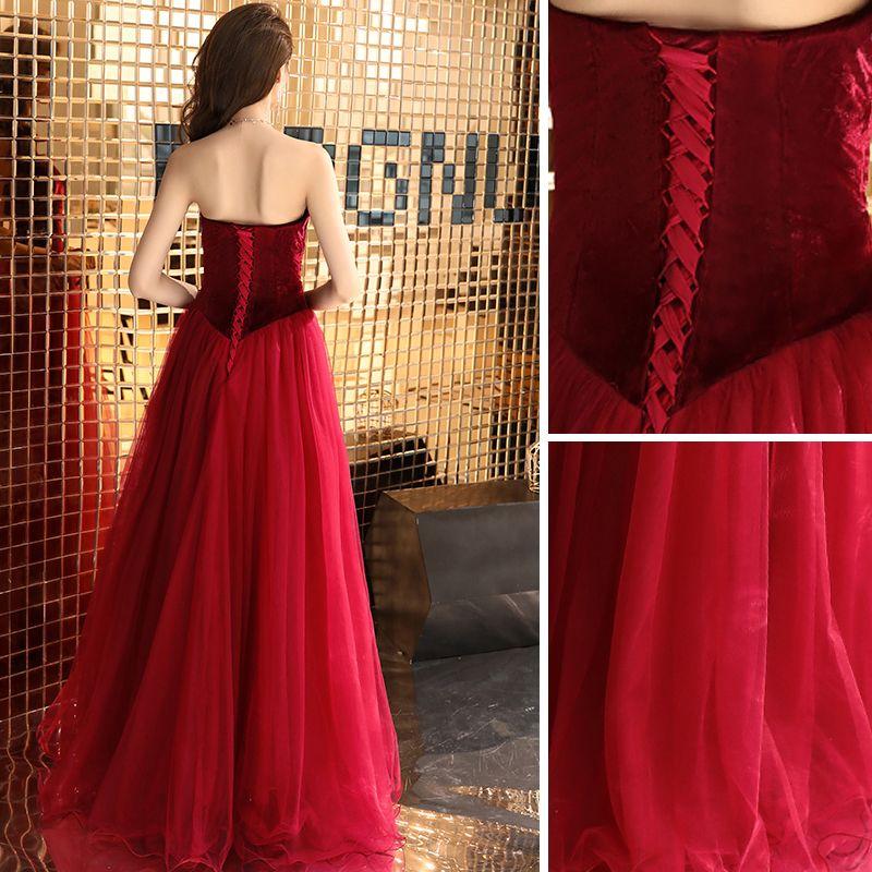 Sexy Burgundy Prom Dresses 2019 A-Line / Princess Strapless Suede Sleeveless Backless Floor-Length / Long Formal Dresses