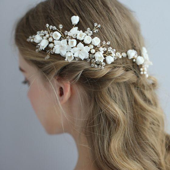 Elegant Gold Hair Comb 2020 Metal Pearl Crystal Flower Headpieces Accessories Bridal Hair Accessories