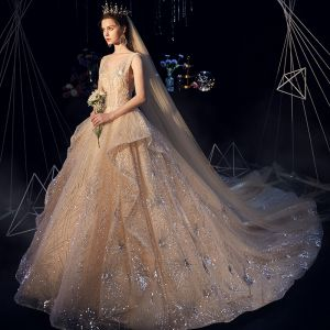 Luxury / Gorgeous Champagne Wedding Dresses 2019 A-Line / Princess V-Neck Sequins Cascading Ruffles Sleeveless Backless Cathedral Train
