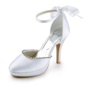 Billige Weiße Brautschuhe Satin Stilettos Sandalen-stiefel Mit Strass Und Schleife