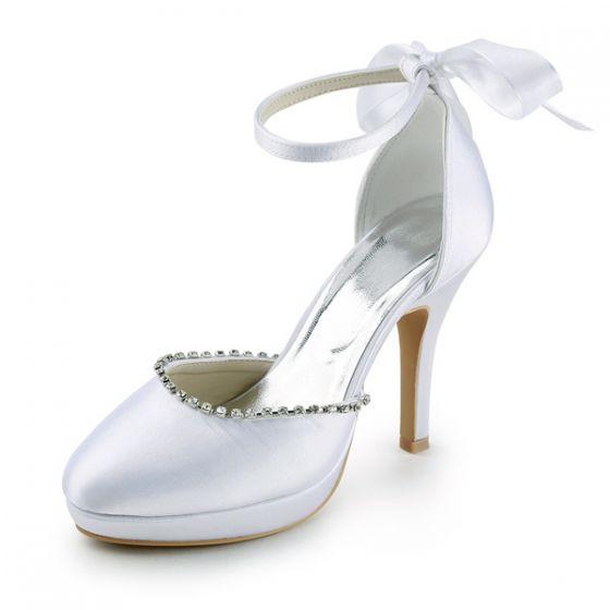 Billige Weiße Brautschuhe Satin Stilettos Sandalen stiefel