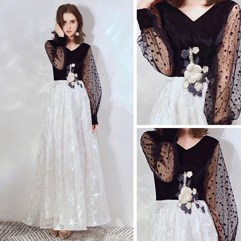 Affordable Black Evening Dresses  2020 A-Line / Princess V-Neck Puffy Long Sleeve Lace Appliques Spotted Tulle Floor-Length / Long Ruffle Backless Formal Dresses